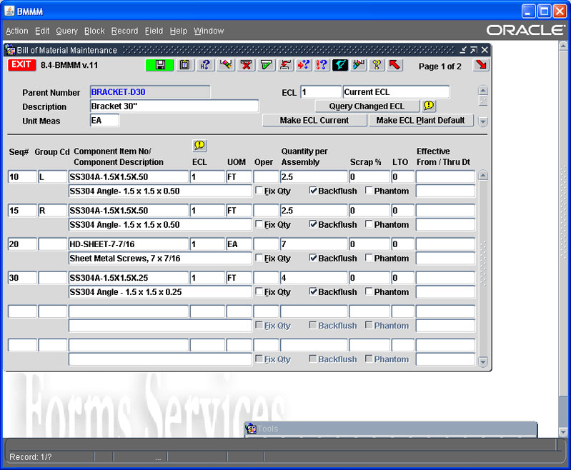 Bill of Materials Entry Screen