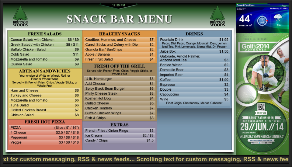 Snack Bar Menu Example