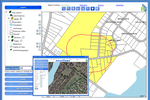 MuniLogic screenshot: MuniLogic mapping module view with graphical survey images & geographical maps