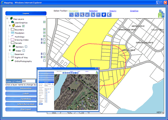 MuniLogic mapping module view with graphical survey images & geographical maps