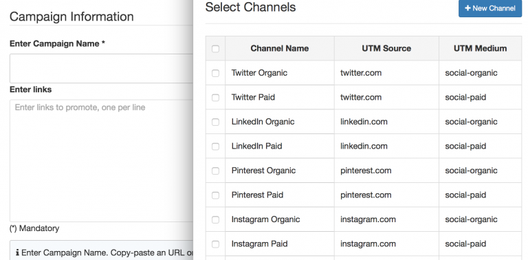 CampaignTrackly screenshot: Auto-tag pre-set promotional channels and links with the UTM tag generator