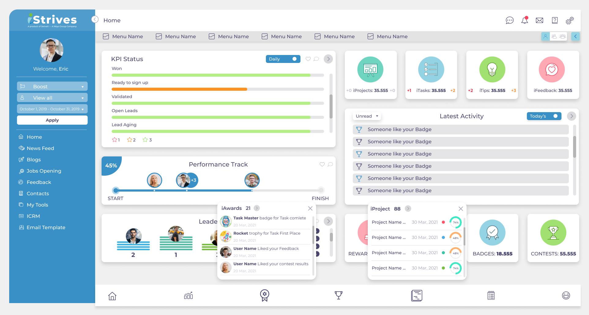 iStrives Software - Main Dashboard