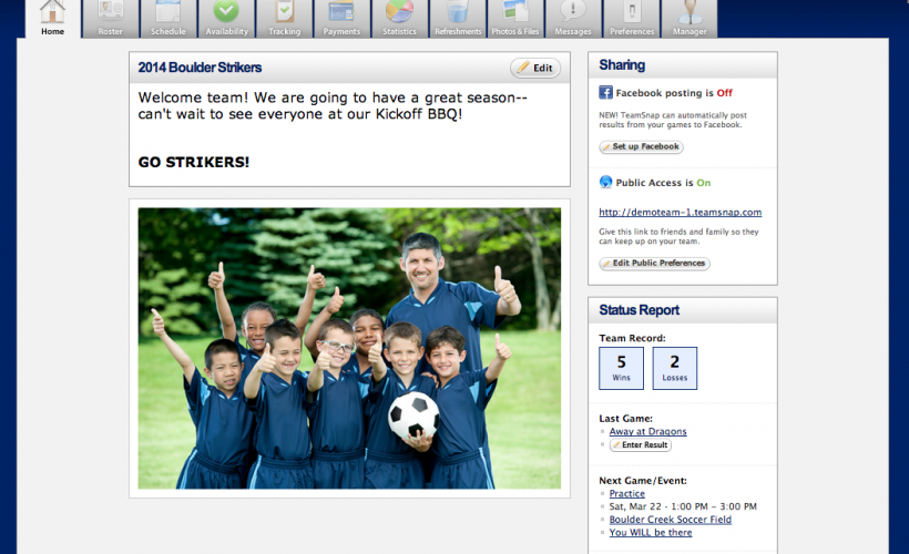 TeamSnap includes a customizable homepage for each team, including the option to add sponsors and a team photo
