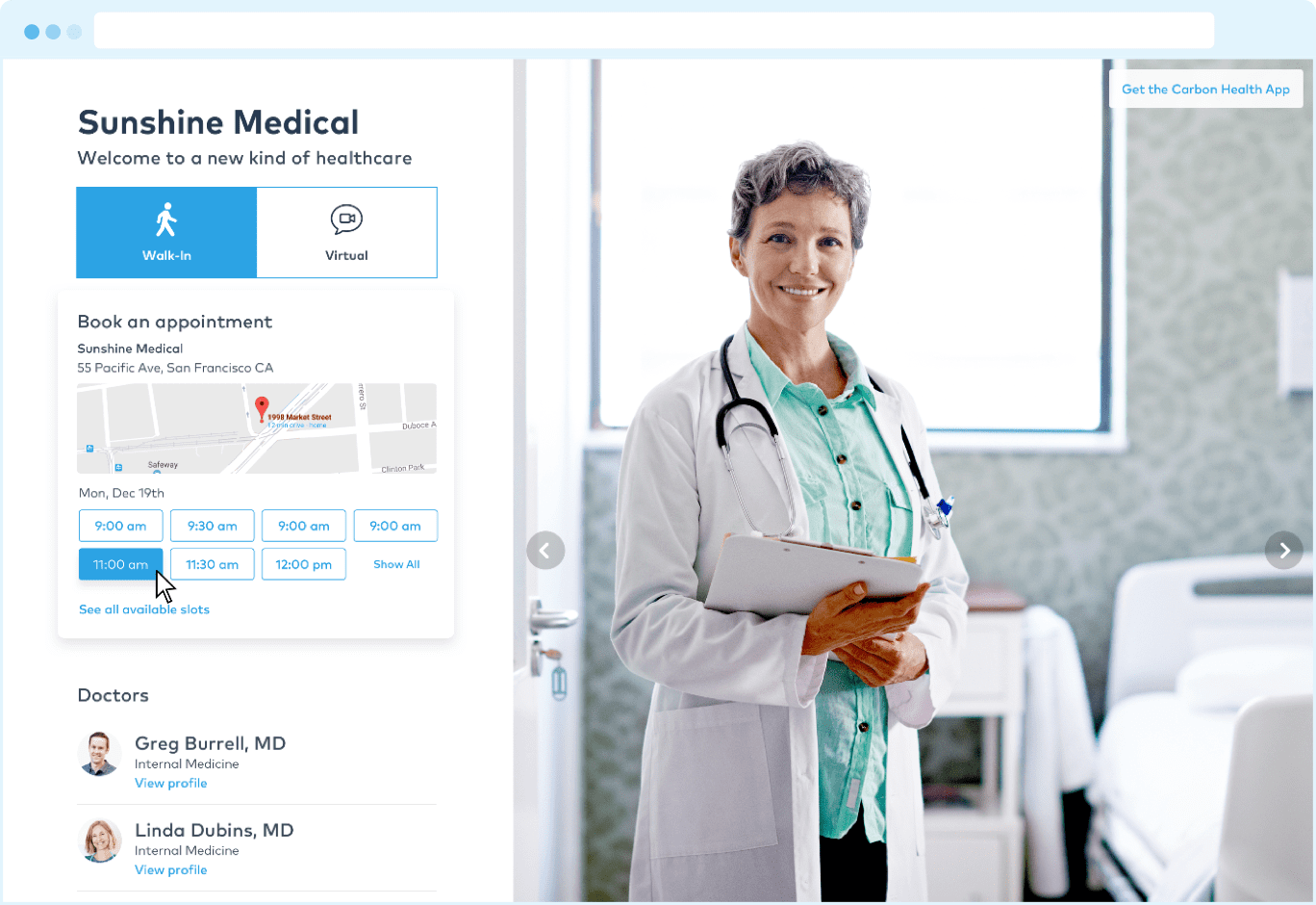 Carbon Health screenshot: Online appointment scheduling is provided via a branded practice page, an embeddable widget for existing sites and the mobile app