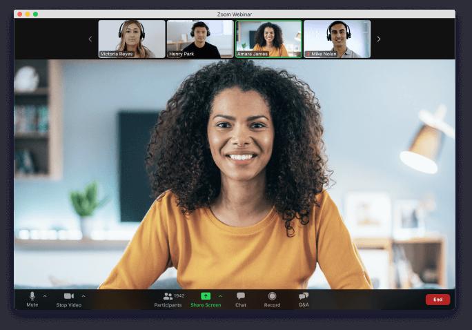 Zoom Video Webinars screensharing