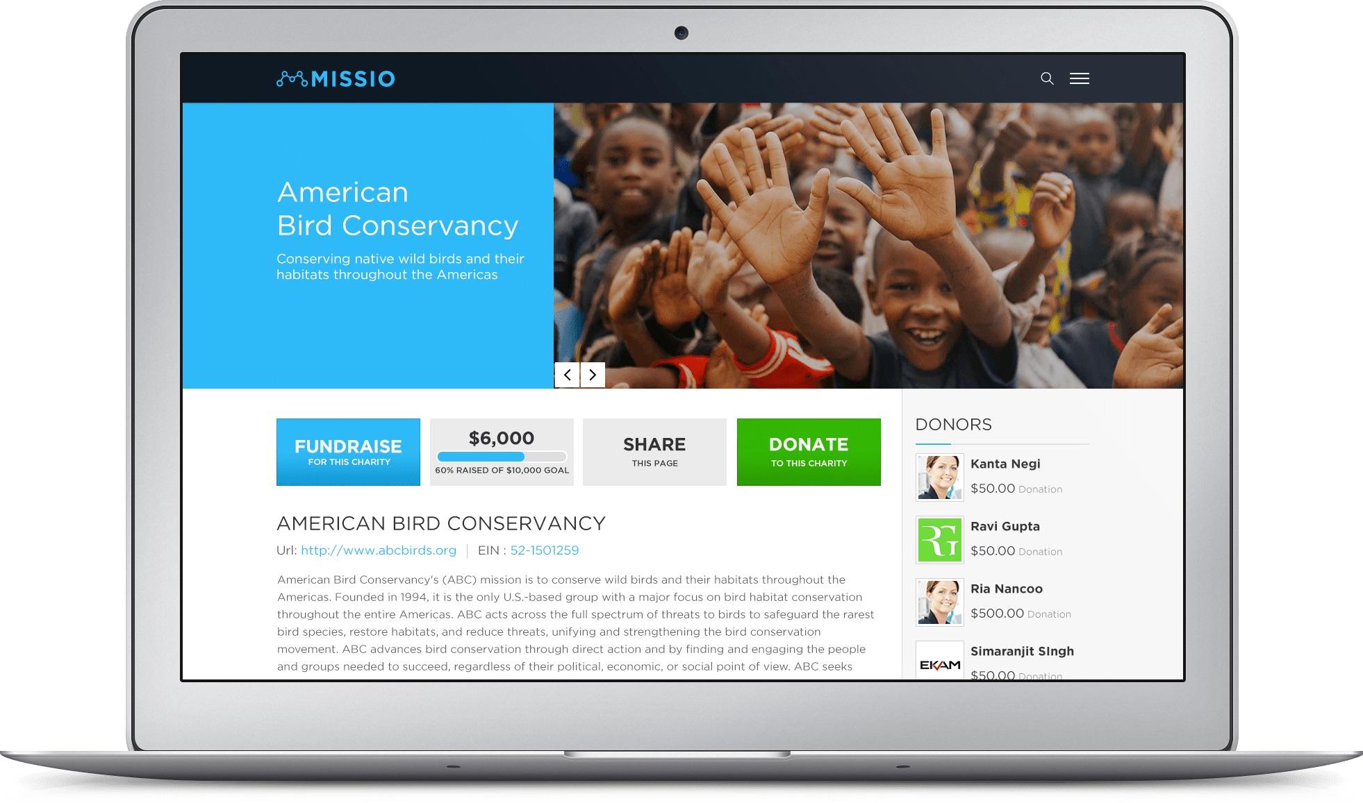 Missio fundraising website