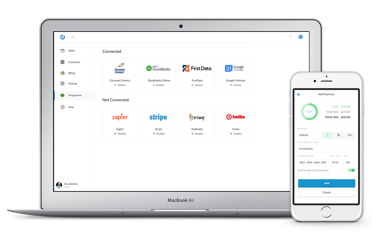 Connect services like Quickbooks and Stripe to Dispatch