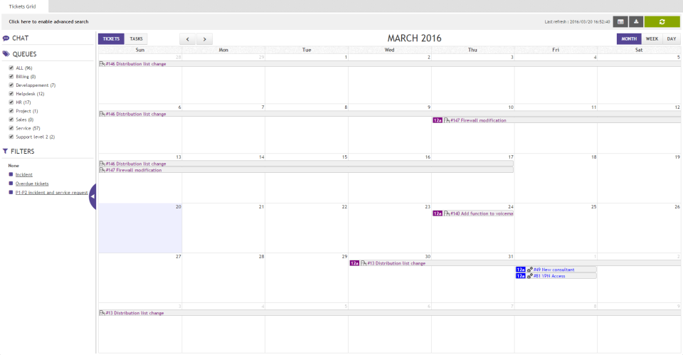 Requuest also allows users to view tickets on the built-in calendar, with day, week, and month views