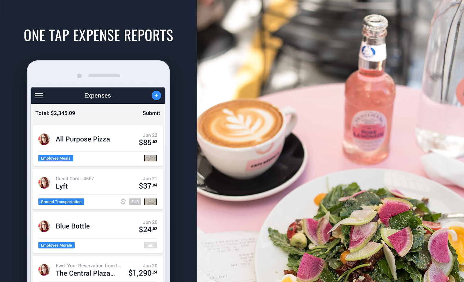 One tap expense reports