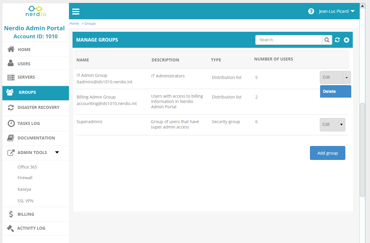 Manage groups and permissions