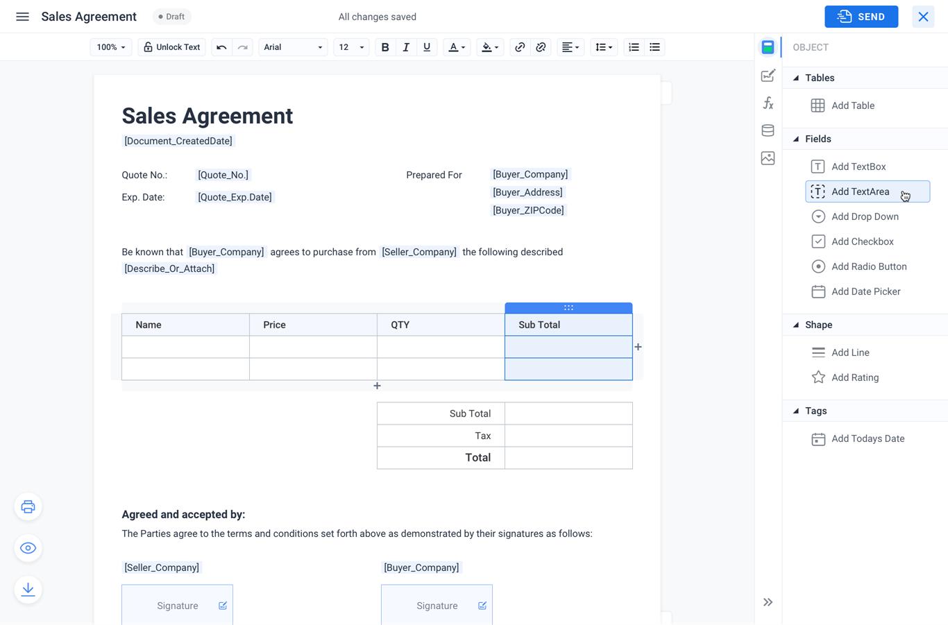 Formsio create document template
