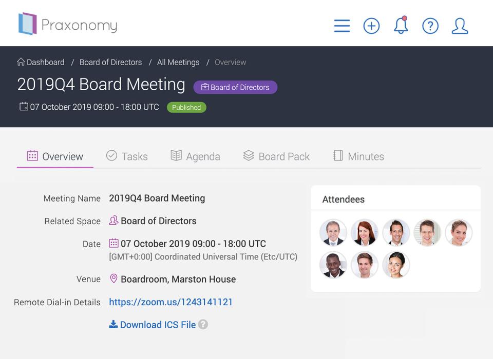 Boardfolio managing meetings