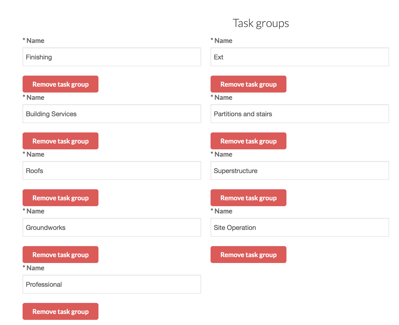 Different task groups can be created in ManagePlaces