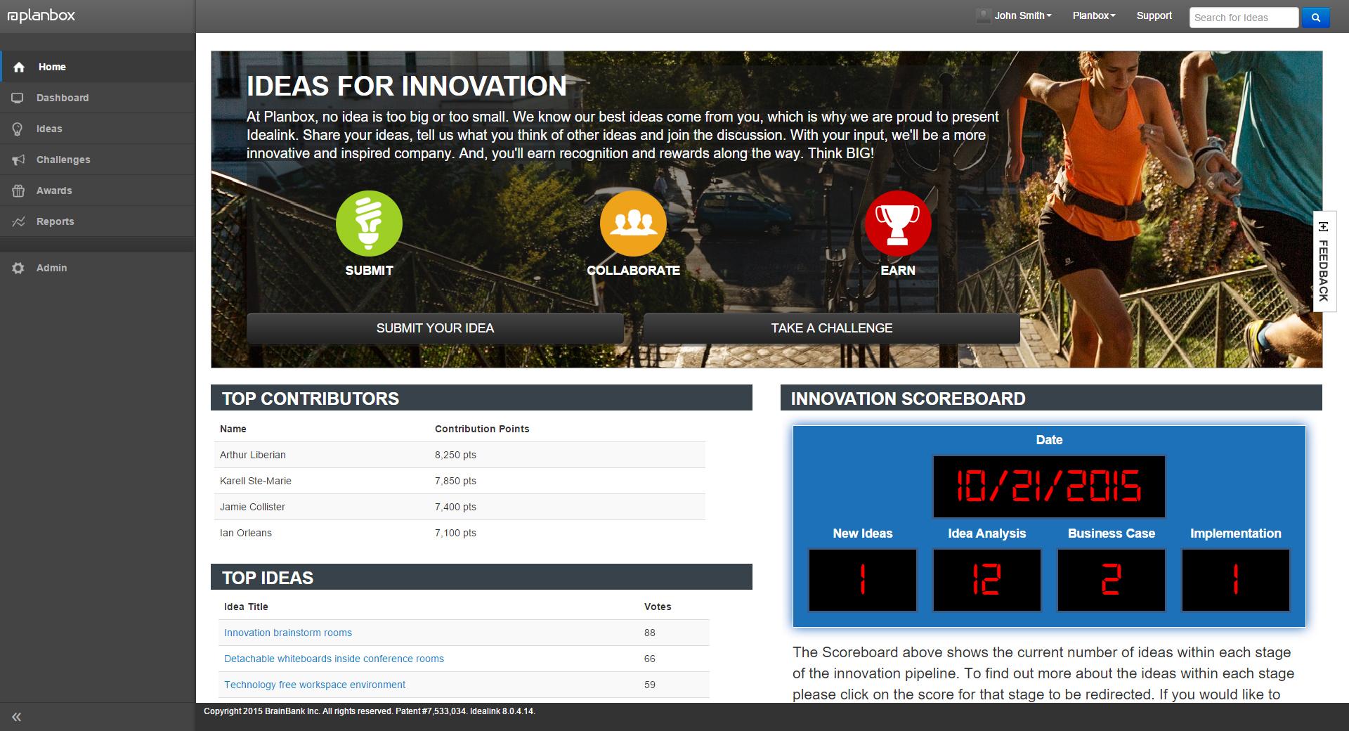 Planbox Innovate screenshot: Planbox Innovate innovation and feedback portal