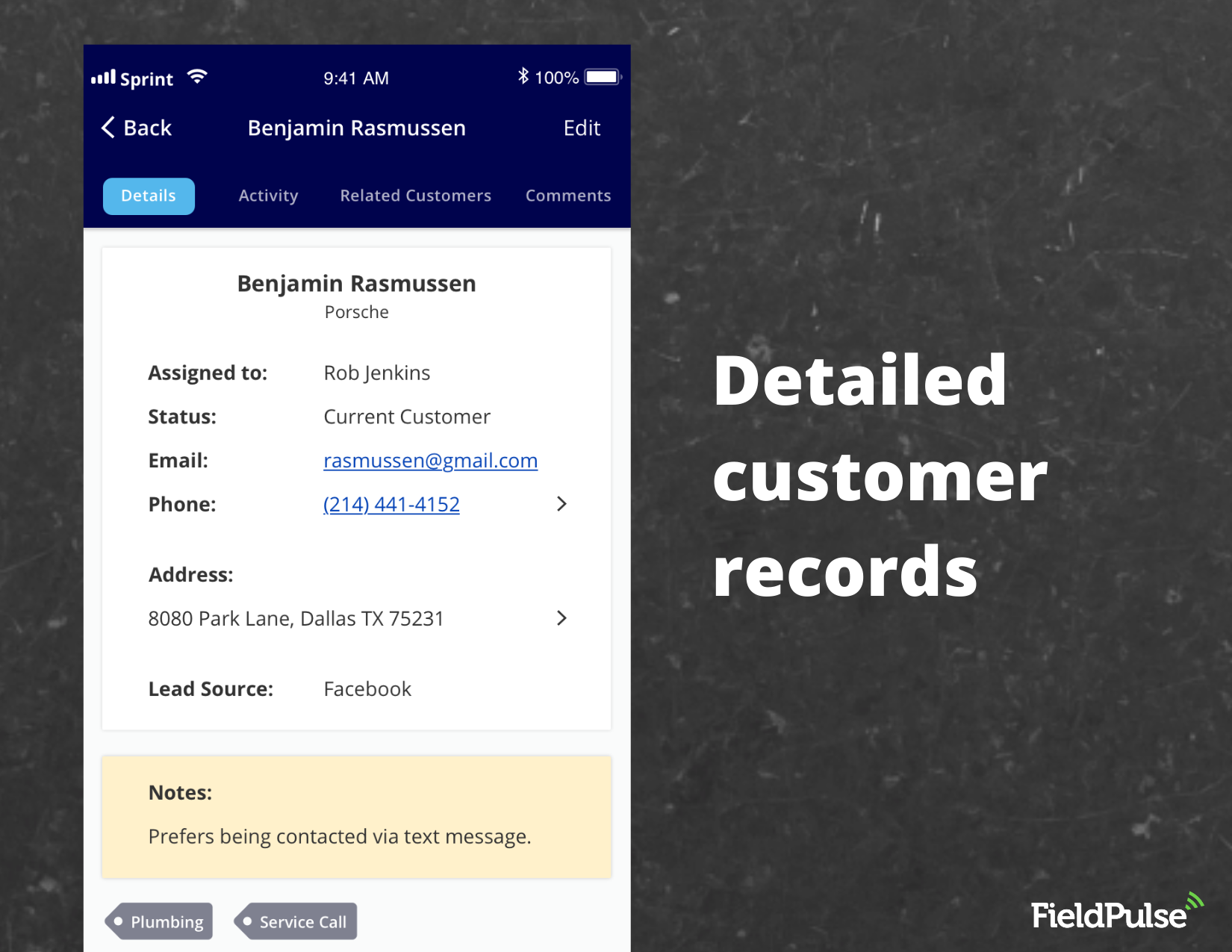 FieldPulse Software - Detail customer records for every job