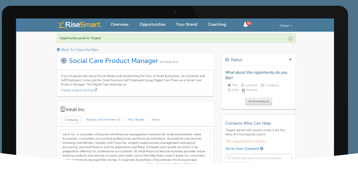 Users can view and save job opportunities, as well as check company information, ratings, key people and salary details