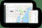 Linxio screenshot: Linxio GPS tracking on geographic maps
