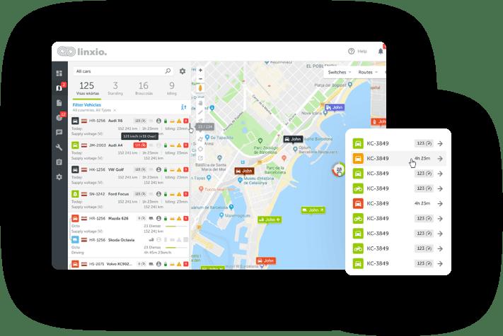 Linxio GPS tracking on geographic maps