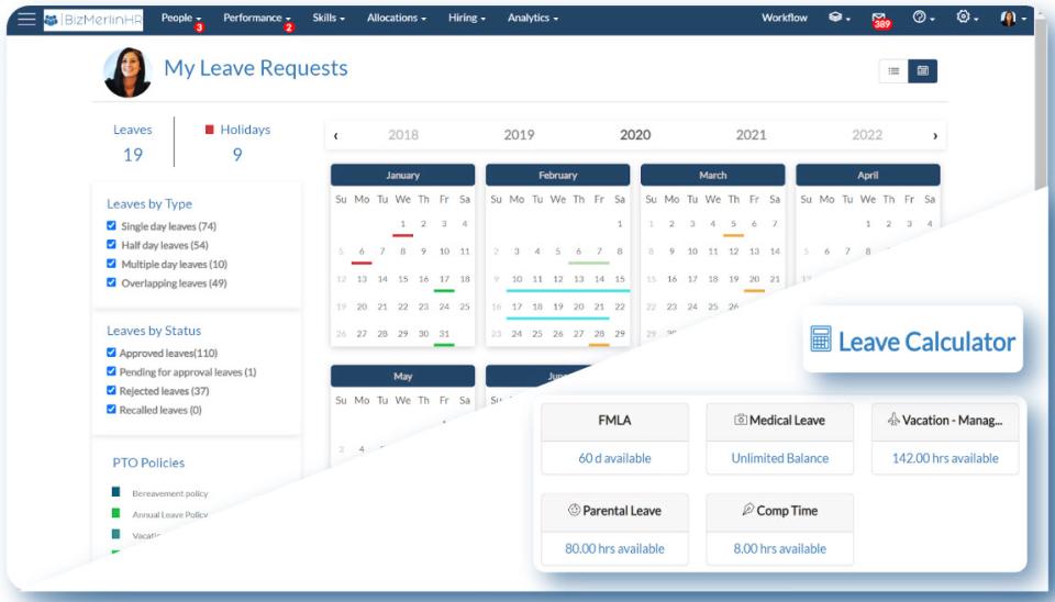 BizMerlinHR Software - Manage employee calendars
