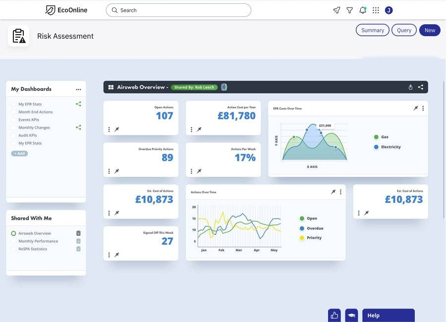 EcoOnline Platform Software - EcoOnline's powerful reporting & dashboard capabilities allow you to gain deeper and more intelligent insights, more accurate conclusions from your EHS data and a safer, healthier and more sustainable working environment.