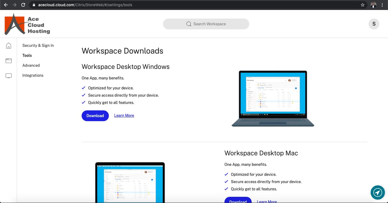 Ace Cloud Hosting workspace tools