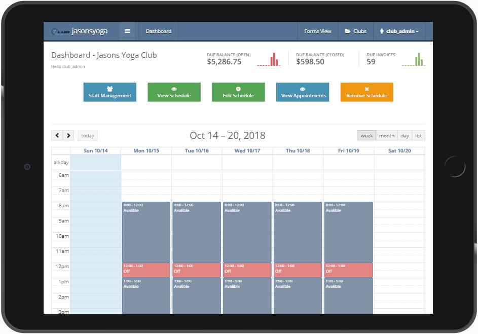 Club Management System dashboard