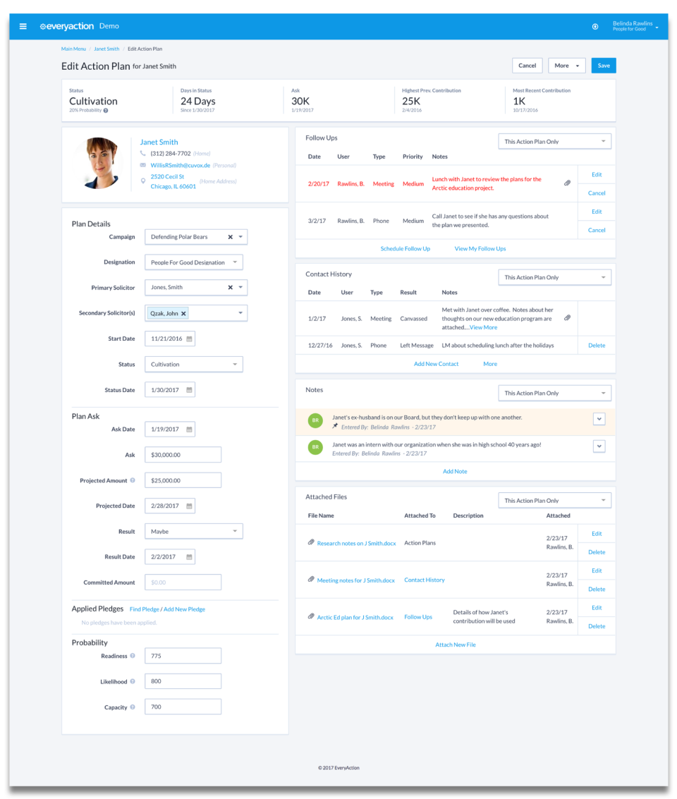 EveryAction screenshot: Keep online and offline efforts organized in one place with tools for donor management