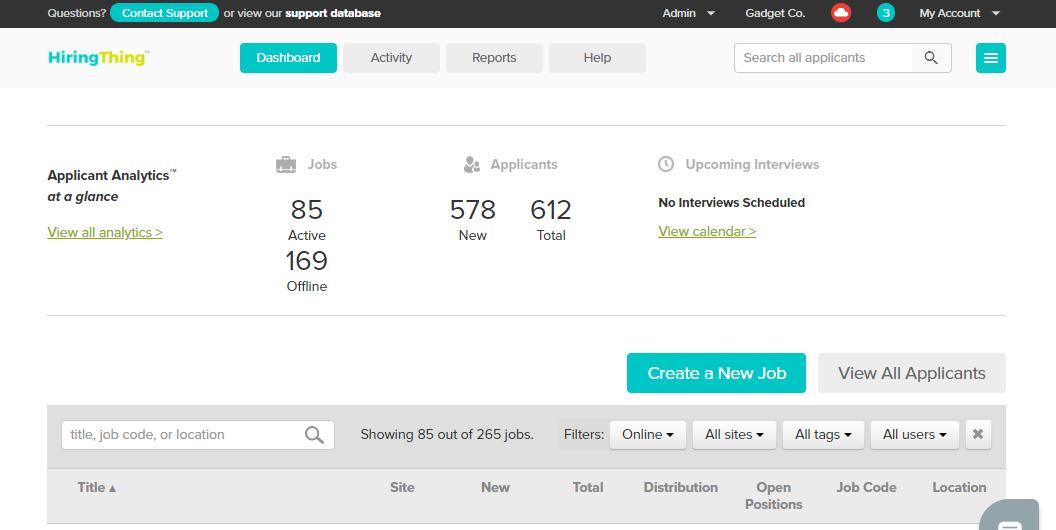 HiringThing screenshot: Application dashboard, your recruitment home