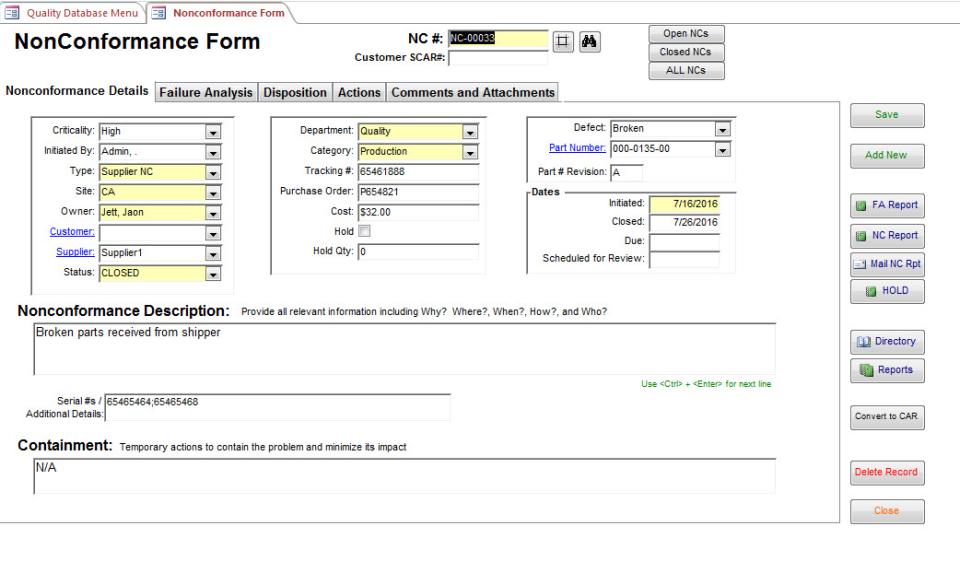 SBS Quality Database Logiciel - 4