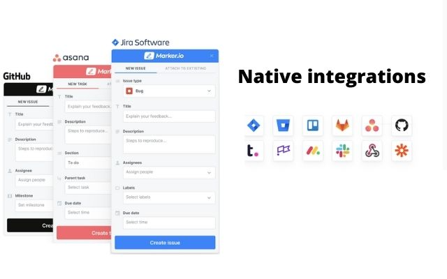 Native integrations with 9+ issue tracking tools.