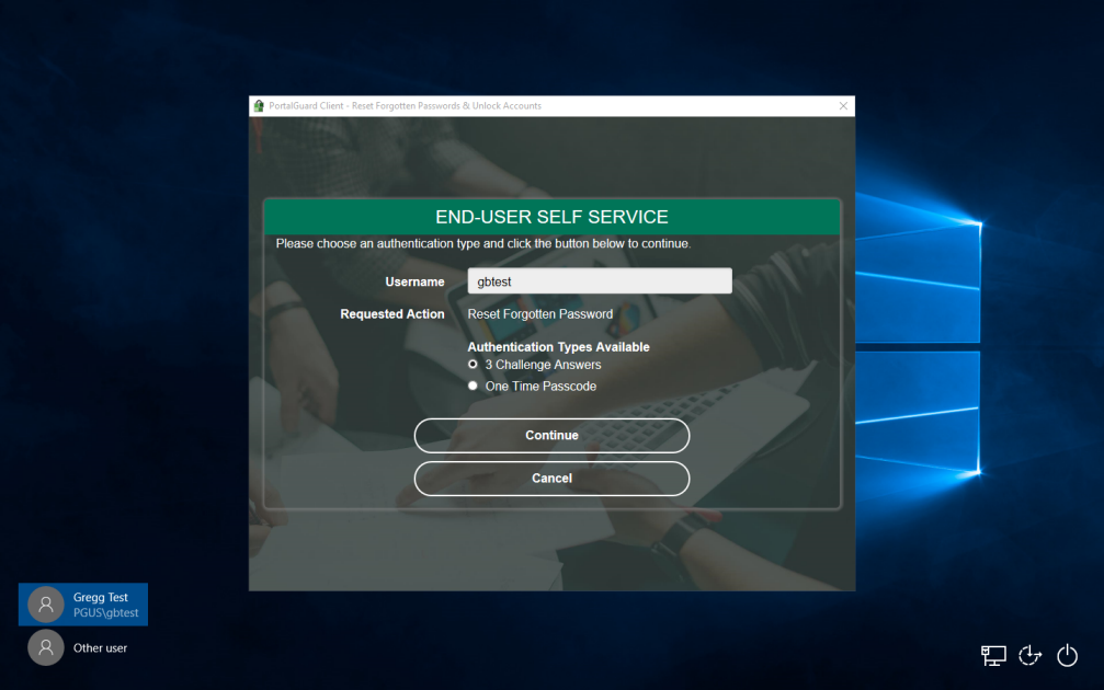 PortalGuard Desktop Browser Shell on Windows 10