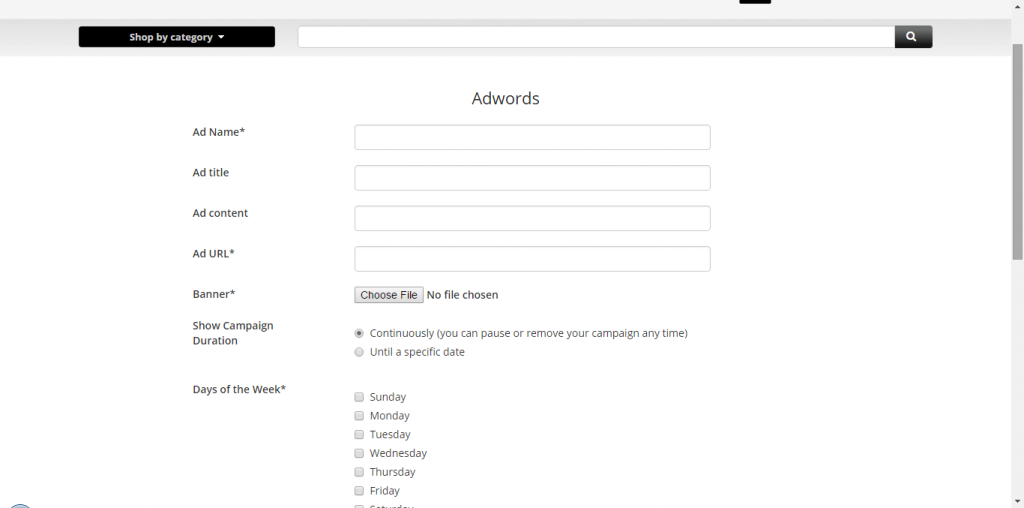 Auction Software managing adwords