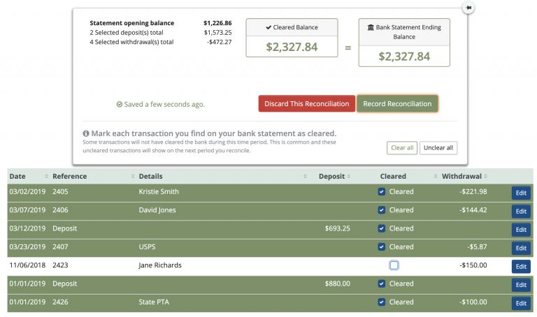MoneyMinder Software - Bank account reconciliation