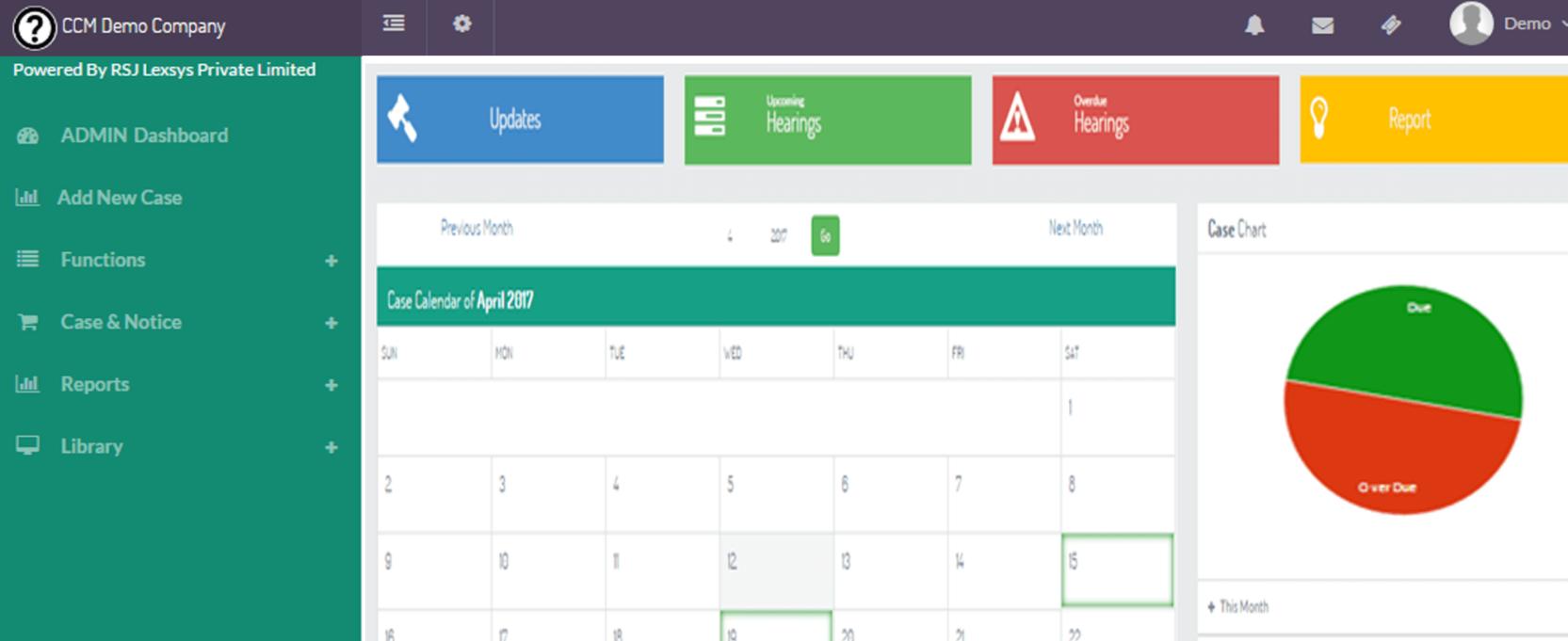 LexComply screenshot: LexComply calendar