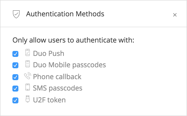 Duo Security allows administrators to control which authentication methods can be used
