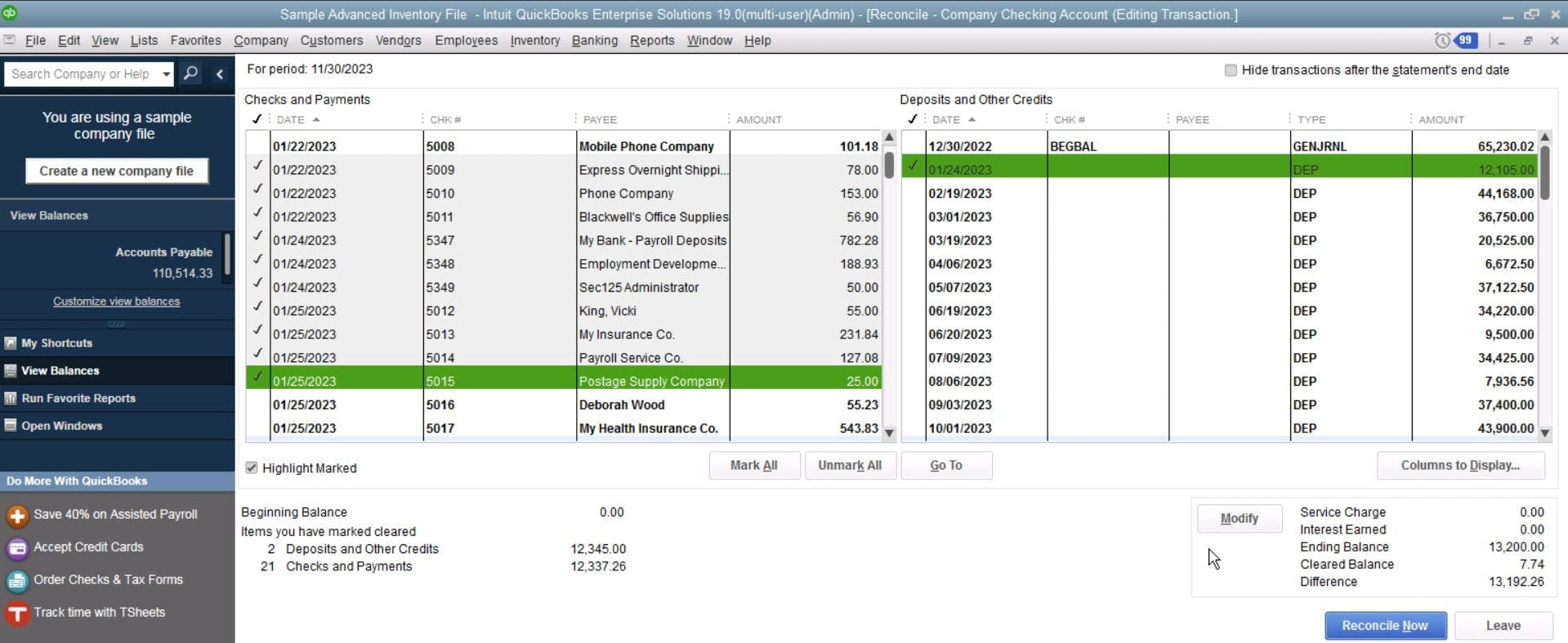 QuickBooks Enterprise Check and Payments