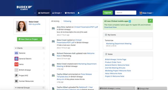 Clinked screenshot: Main Dashboard