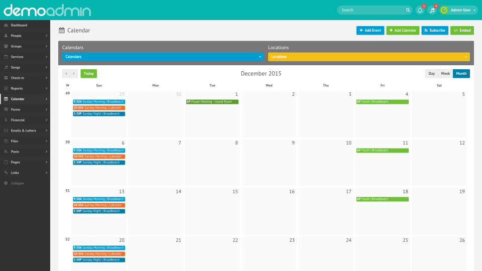 Elvanto showing the integrated events calendar