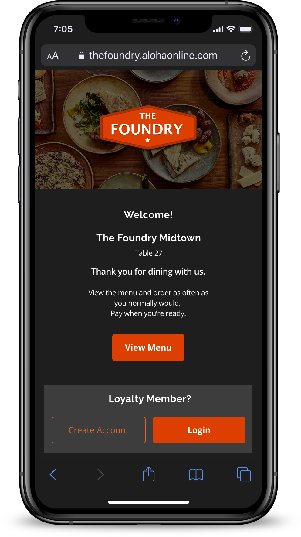 Give guests a safe, easy way to order and pay while dining-in.