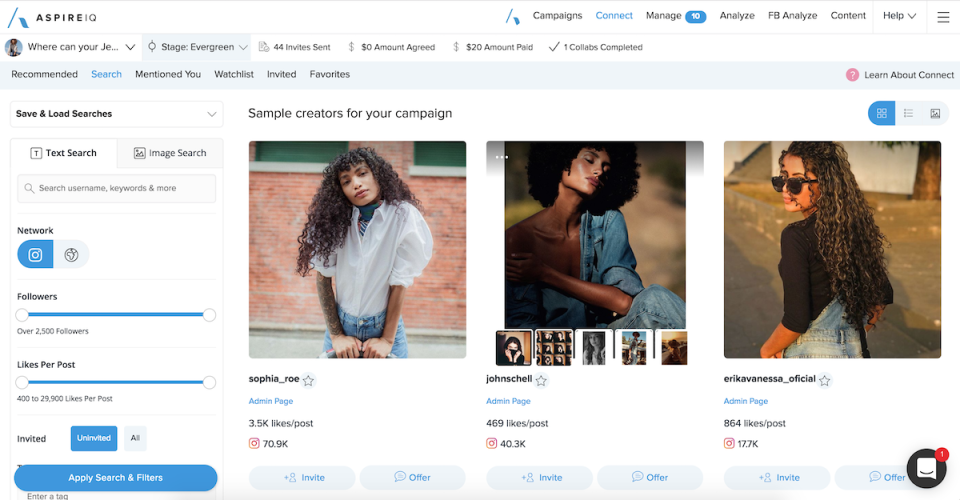 AspireIQ screenshot: Search for influencers using a text or image search