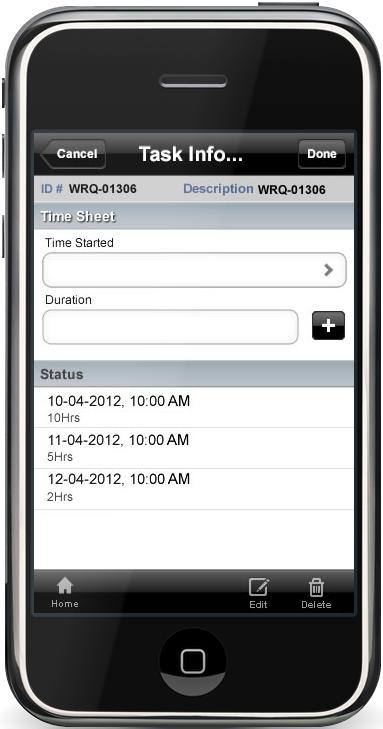 Mobile time sheet