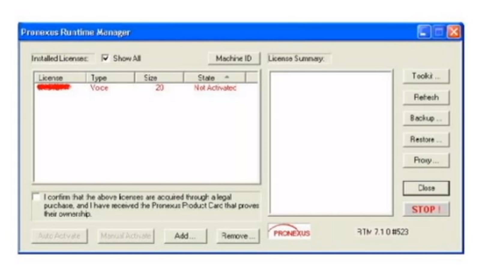 Pronexus VBVoice activating license screenshot