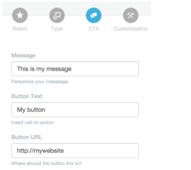 Add CTA message, button text, and URL