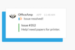 OfficeAmp screenshot: Once an admin marks an issue as resolved, OfficeAmp sends an automatic notification to inform the submitter in Slack