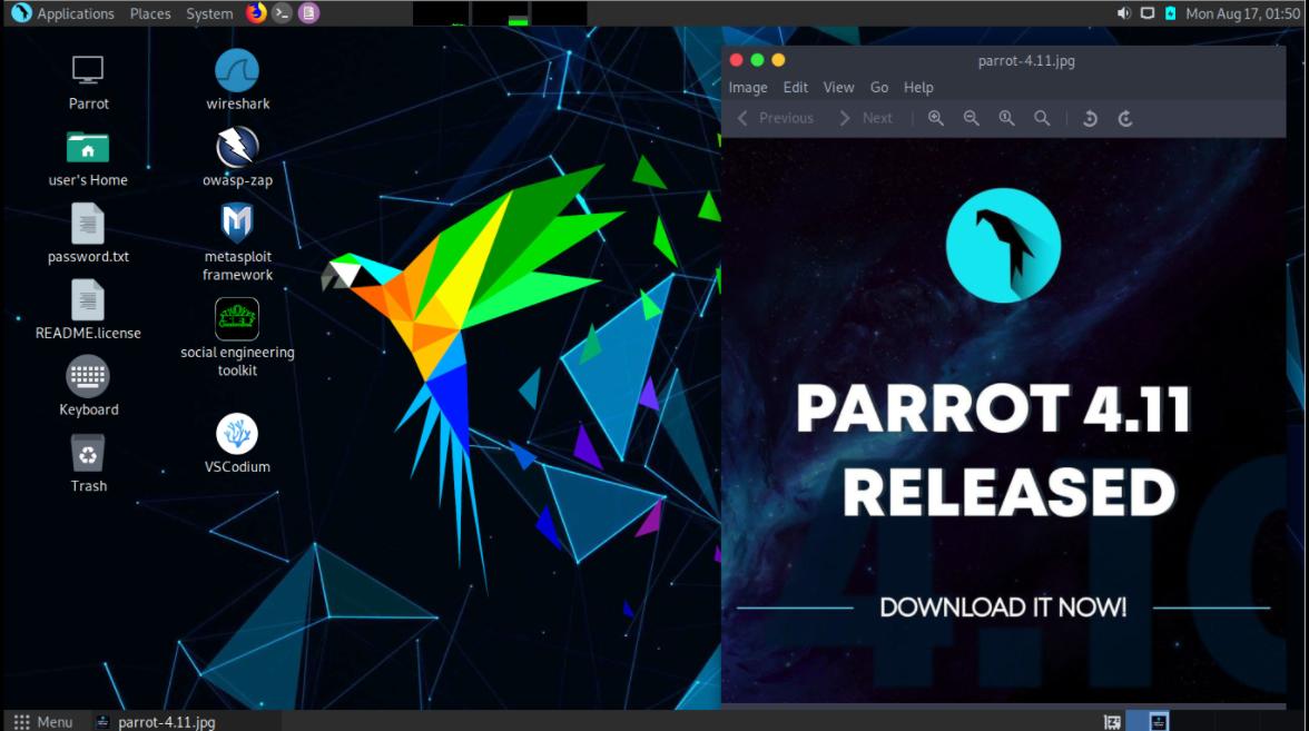 Parrot OS user interface