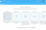 Docker screenshot: The landing page outlines the major concepts of the application