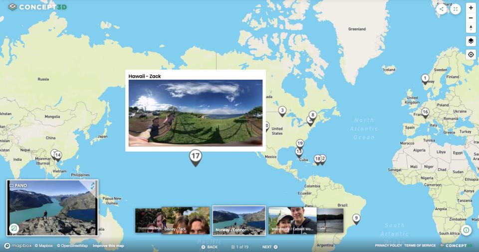 Concept3D screenshot: Concept3D: 360° tour map view screenshot
