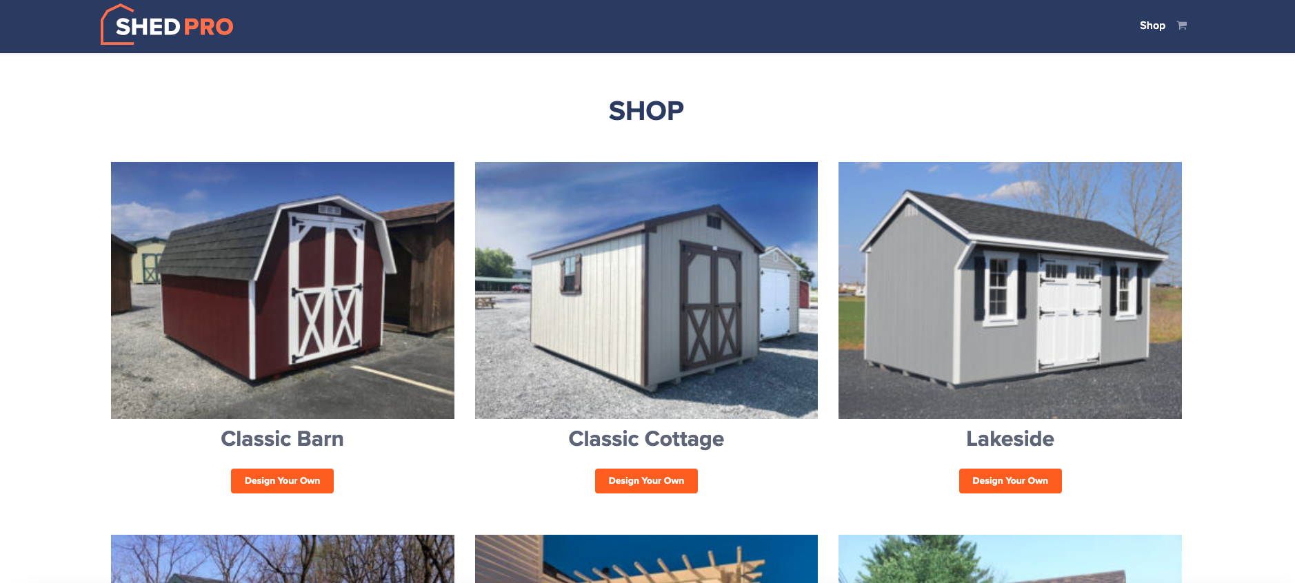 ShedPro custom page design