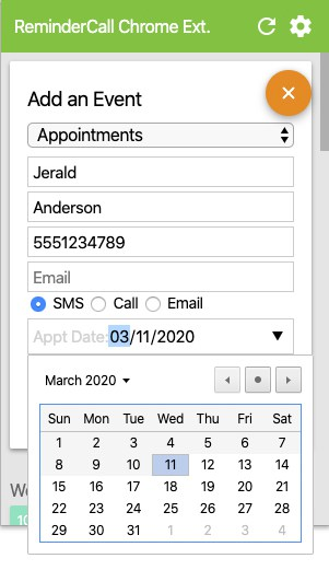 ReminderCall add events
