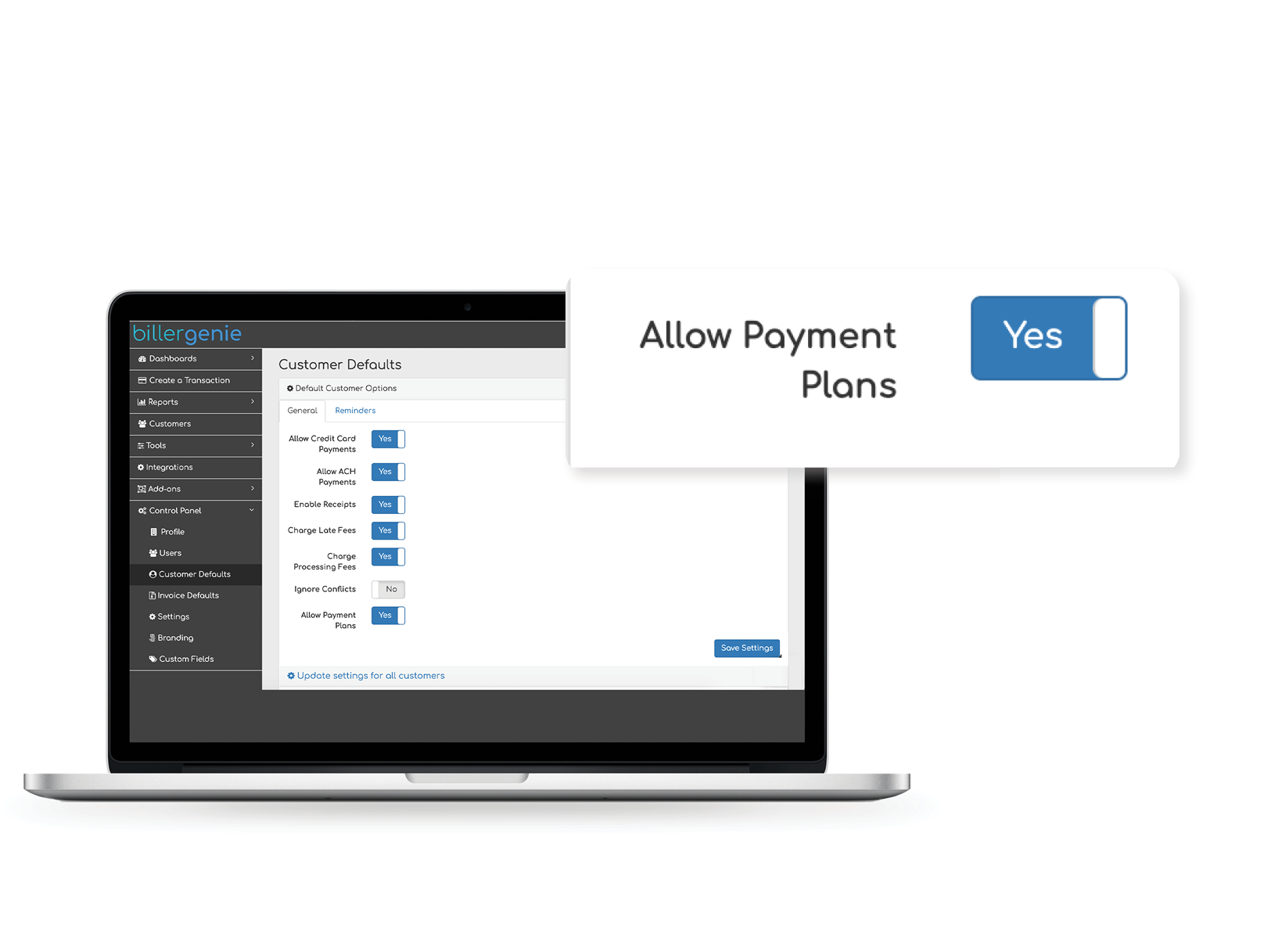 The Payment Planner allows your customers to request payment plans, breaking up larger invoices in smaller, more manageable payments.